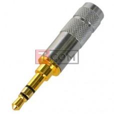 Штекер 3.5мм стерео TCOM, silver-gold, металлический корпус