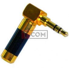 Штекер 3.5мм стерео TCOM, угловой, HQ, gold, синий, металлический корпус