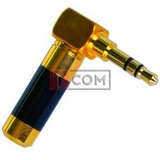 Штекер 3.5мм стерео TCOM, угловой, HQ, gold, чёрный, металлический корпус