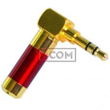 Штекер 3.5мм стерео TCOM, угловой, HQ, gold, красный, металлический корпус