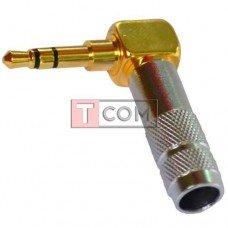 Штекер 3.5мм стерео TCOM, угловой, HQ, gold, cеребристый, металлический корпус