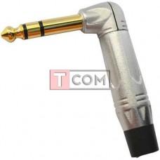 Штекер 6.3мм стерео TCOM, угловой, silver-gold, металлический корпус