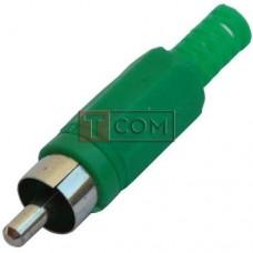 Штекер RCA TCOM под шнур, корпус пластик, зелёный