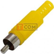 Штекер RCA TCOM под шнур, корпус пластик, жёлтый