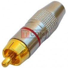 Штекер RCA silver-gold TCOM, Ø6.5мм, корпус металлический, красный