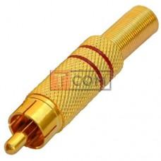 Штекер RCA, металлический, gold, с пружиной, Ø6.5мм, красный