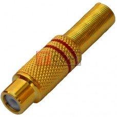Гнездо RCA TCOM, gold, под шнур, Ø6.5мм, металлическое, красное