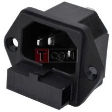 Штекер сетевой TCOM, 3pin, монтажный, с предохранителем, корпус пластик