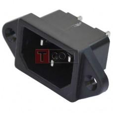 Штекер сетевой TCOM, 3pin, монтажный, корпус пластик