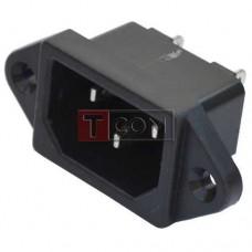 Штекер сетевой TCOM, 3pin, монтажный, медь, корпус пластик