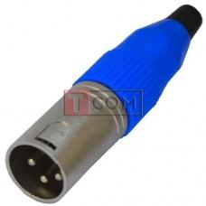 Штекер CANON (XLR) TCOM, 3pin, под шнур, синяя гайка