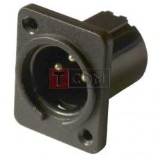 Штекер CANON (XLR) TCOM, 3pin, монтажный, корпус пластик