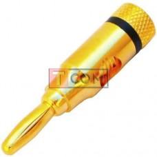 Штекер акустический Banan TCOM, под кабель, gold, корпус металлический (Тип2)