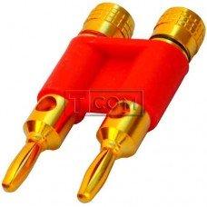 Штекер акустический Banan TCOM, под кабель, gold, двойной