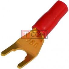 """Штекер акустический терминал """"Y"""" (вилка), gold, в резине, медь, красный"""