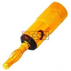 Штекер акустический Banan TCOM, gold, корпус металлический, чёрный