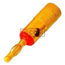 Штекер акустический Banan TCOM, gold, корпус металлический, красный