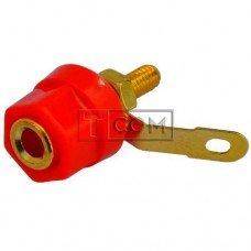 Гнездо Banan TCOM, монтажное, gold, Ø16мм, корпус пластик, красное