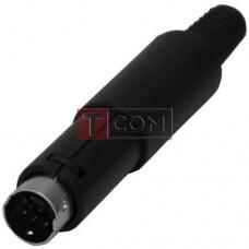Штекер mini DIN 7pin (2-х рядн.) TCOM, под шнур, корпус пластик