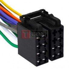 Разъём автомагнитолы ISO гнездо TCOM, сдвоенный, с кабелем 0.2 м, медный
