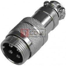 """Разъём MIC 344, """"штекер"""", под кабель, 4pin, Ø16мм"""
