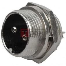 Разъём MIC 332 mini TCOM, штекер, монтажный, 2pin, Ø12мм