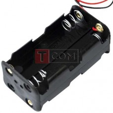 "Корпус для четырёх батареек типа ""АА"", 20x20х51мм, с проводом 15см"