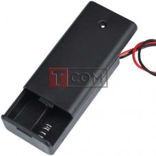 """Корпус батареек x2 """"АА"""" с крышкой и переключателем ON-OFF, 68x33х18мм, провод"""