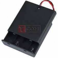"""Корпус батареек x4 """"АА"""" с крышкой и переключателем ON-OFF, 70x65х19мм, провод"""