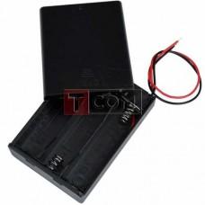 """Корпус батареек x3 """"АА"""" с крышкой и переключателем ON-OFF, 64x48х19мм, провод"""