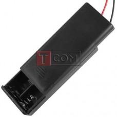 """Корпус батареек x2 """"ААA"""" с крышкой и переключателем ON-OFF, 62x25х16мм, провод"""