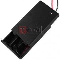 """Корпус батареек x3 """"ААA"""" с крышкой и переключателем ON-OFF, 62x36х16мм, провод"""