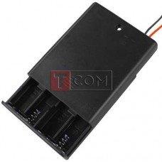 """Корпус батареек x4 """"ААA"""" с крышкой и переключателем ON-OFF, 62x48х16мм, провод"""
