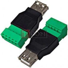 Гнездо USB тип A, c клеммной колодкой (под винт)