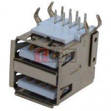 Гнездо USB тип A TCOM, двойное, монтажное, угловое
