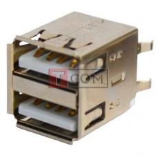 Гнездо USB тип A TCOM, двойное, монтажное