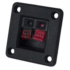 Гнездо акустическое (зажим) 2-х контактный, на квадратной панели 42х42мм