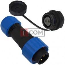 Комплект разъёмов герметичных 13мм 2pin (штекер кабельный - гнездо монтажное)