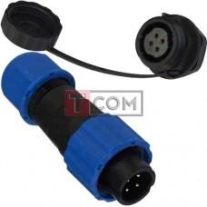 Комплект разъёмов герметичных 13мм 4pin (штекер кабельный - гнездо монтажное)