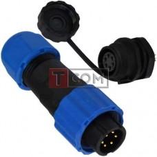Комплект разъёмов герметичных 13мм 6pin (штекер кабельный - гнездо монтажное)