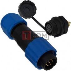 Комплект разъёмов герметичных 13мм 7pin (штекер кабельный - гнездо монтажное)