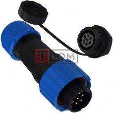 Комплект разъёмов герметичных 16мм 7pin (штекер кабельный - гнездо монтажное)