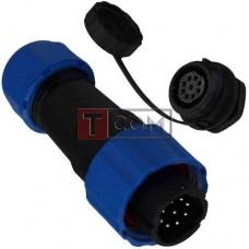 Комплект разъёмов герметичных 16мм 9pin (штекер кабельный - гнездо монтажное)