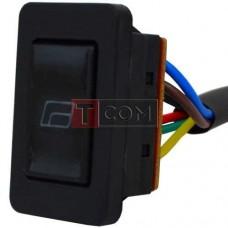 Переключатель cтеклоподъёмника с подсветкой и проводами ASW-21D TCOM, 12V, 20А