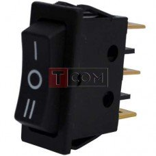 Переключатель узкий RS-123-11C (ON)-OFF-(ON) TCOM, 3pin, 12V, 35А, чёрный
