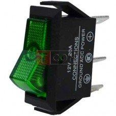 Переключатель с подсветкой ASW-09D ON-OFF TCOM, 3pin, 12V, 20А, зелёный