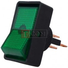 Переключатель с подсветкой ASW-11D ON-OFF TCOM, 3pin, 12V, 20А, зелёный