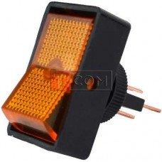 Переключатель с подсветкой ASW-11D ON-OFF TCOM, 3pin, 12V, 20А, жёлтый