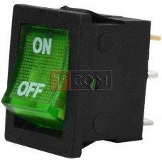 Переключатель с подсветкой MIRS-101-2 ON-OFF TCOM, 3pin, 6A, 220V, зеленый