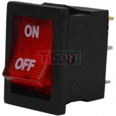 Переключатель с подсветкой MIRS-101-2 ON-OFF TCOM, 3pin, 6A, 220V, красный